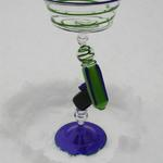 Ray Gun Goblet  2003 Green aventurine and Lapis blue ray gun. 10 x 5 x 5 inches