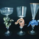 Snake Goblets 2002 Solid glass snakes, tallest in group 8 x 4 x 3 inches