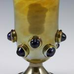 Palace Treasure Chalice 2011 Gold Topaz over clear glass (reduced) Deep Sapphire prunts 6.5 x 3.5 x 3.5 inches