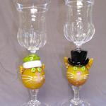 Olga & The Baron 2008 Cat Head goblet pair, tallest 9 x 3 x 3 inches